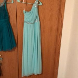 One shoulder blue prom dress size 3.